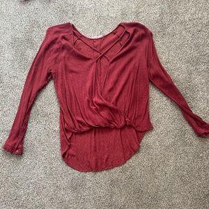 Lush high-low long sleeve top